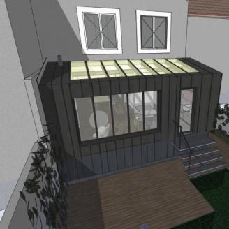 Conception d'une extension de maison en structure bois et bardage en Zinc