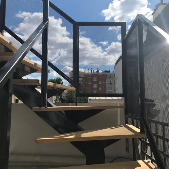 Création d'un escalier extérieur pour terrasse- Maison de ville- Paris 17e