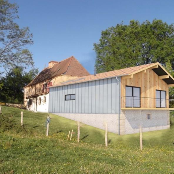 Extension en structure bois d'une maison périgourdine, dans le Périgord (24)